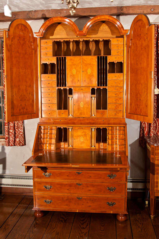 custom english queen anne style bureau bookcase secretary. Black Bedroom Furniture Sets. Home Design Ideas