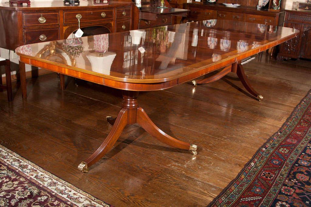 Custom English Flame Mahogany Double Pedestal Dining Table