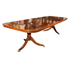 Custom English Flame Mahogany Double Pedestal Dining Table