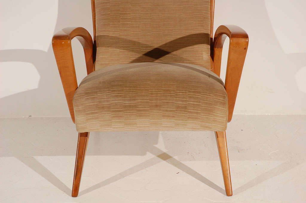 Pair Of Pecan Wood Armchairs Chairs At 1stdibs