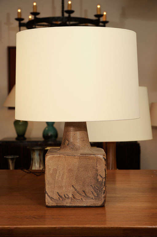 Pair Of Square Matte Glazed Lamps At 1stdibs