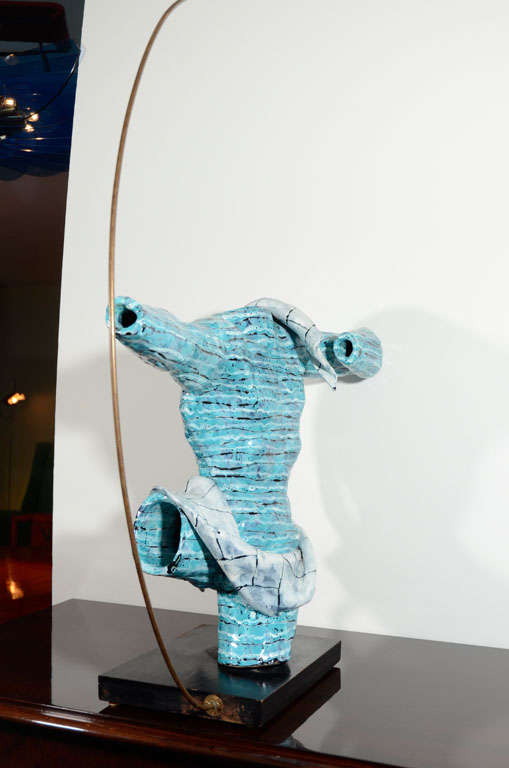 Rare Ceramic Archer Sculpture by San Polo In Excellent Condition For Sale In New York, NY