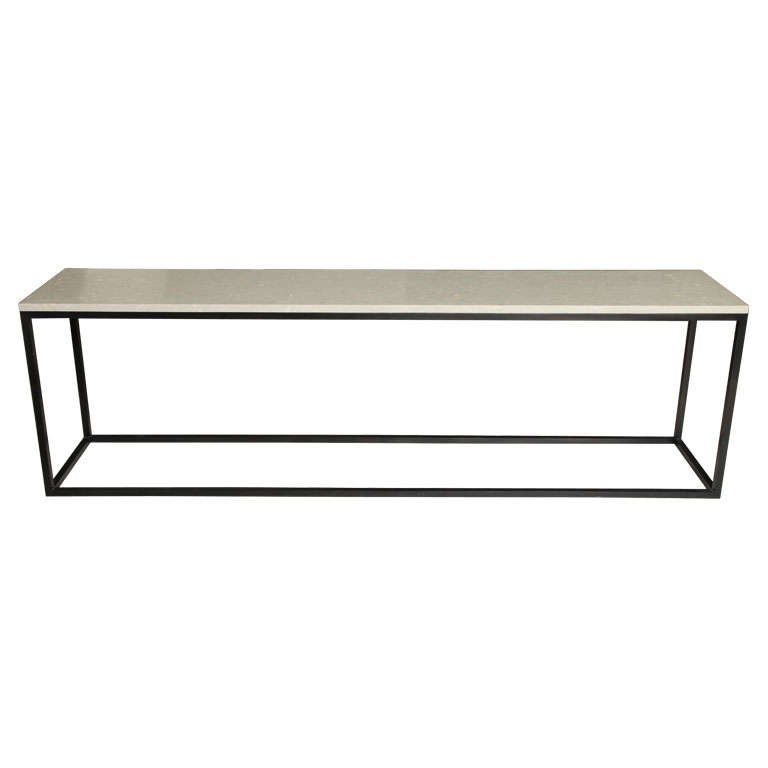 Seagrass Stone Top Console on Blackened Metal Base