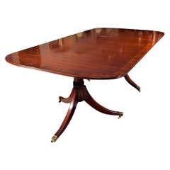 Custom, English Mahogany Dining Table with Rosewood Banding