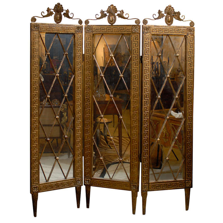Hollywood Regency Mirrored Screen