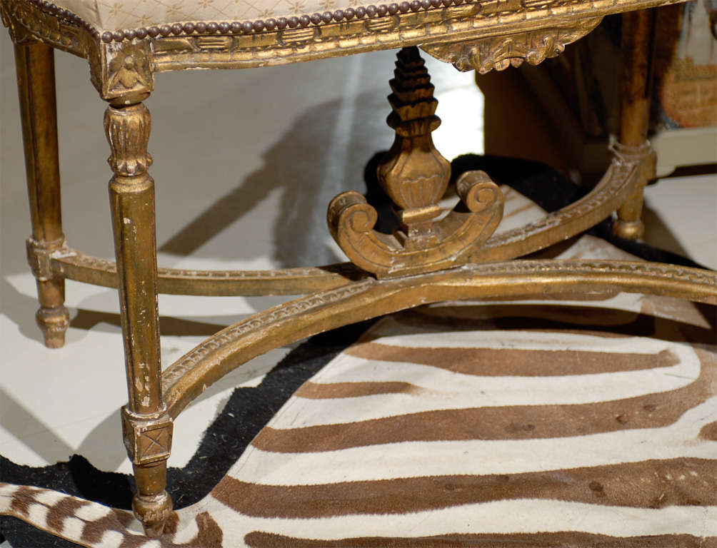 19th Century Oversized Louis XVI Gilded Stool For Sale