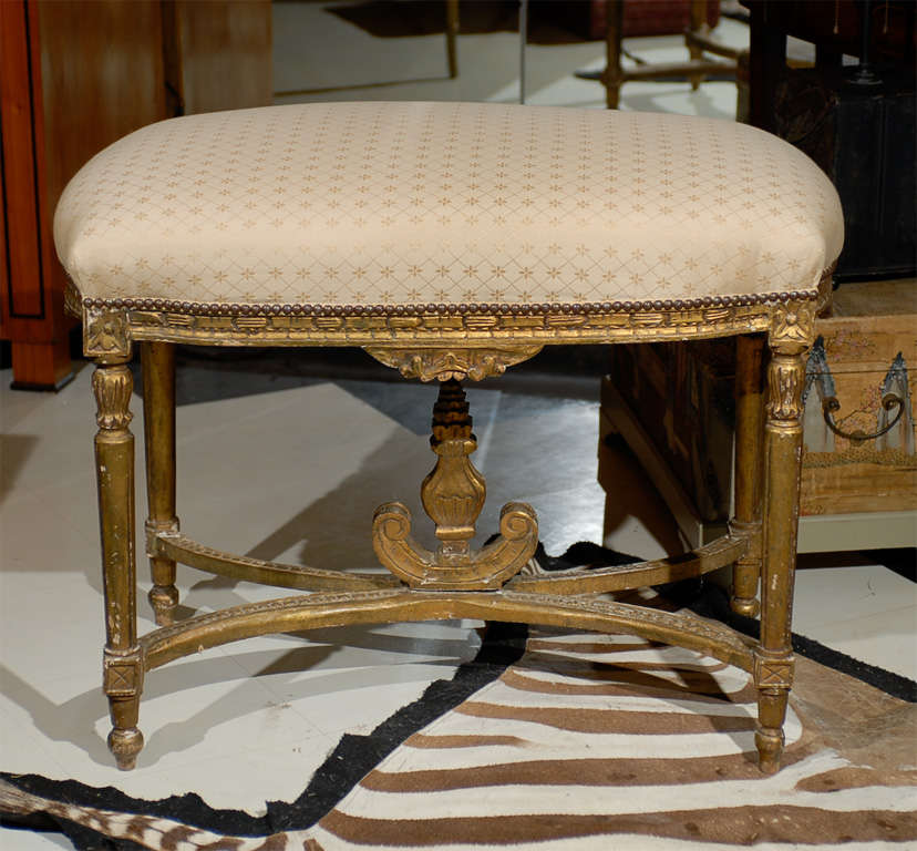 Wood Oversized Louis XVI Gilded Stool For Sale
