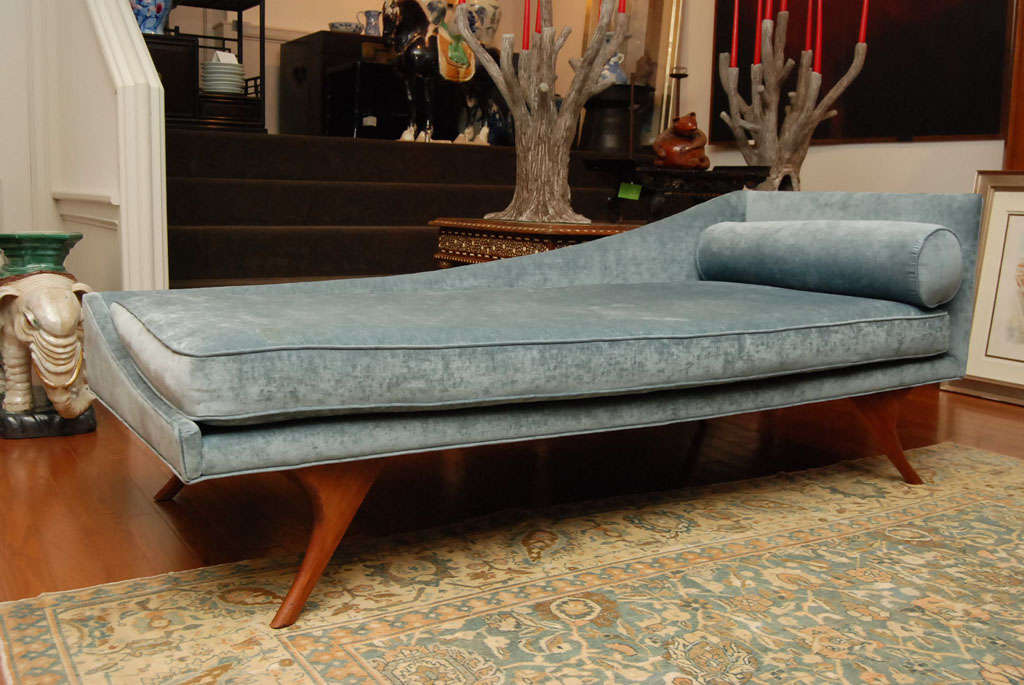 Blue chaise lounge at 1stdibs for Blue chaise lounge