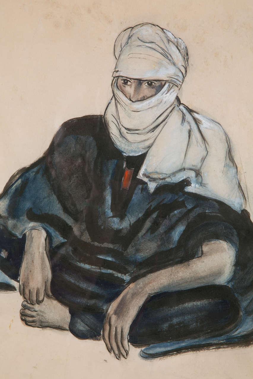 'Touareg in Hoggar' Gouache by Monique Cras, Art Deco, 1942 For Sale 1