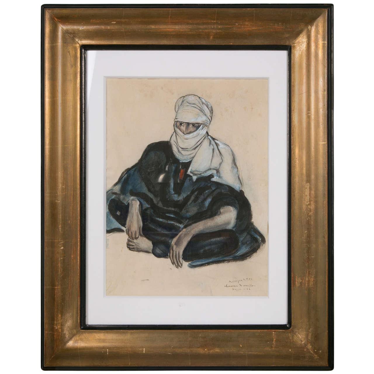 'Touareg in Hoggar' Gouache by Monique Cras, Art Deco, 1942 For Sale