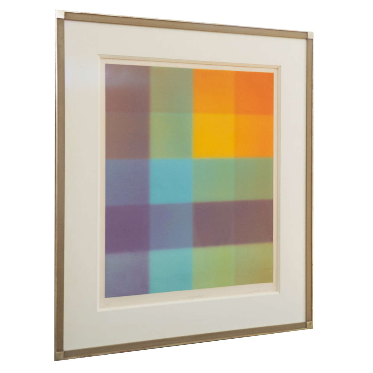 Signed Barry Nelson Geometric Lithograph, Dated 1975 at ...