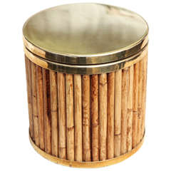 Gabriella Crespi Bamboo and Brass Ice Bucket