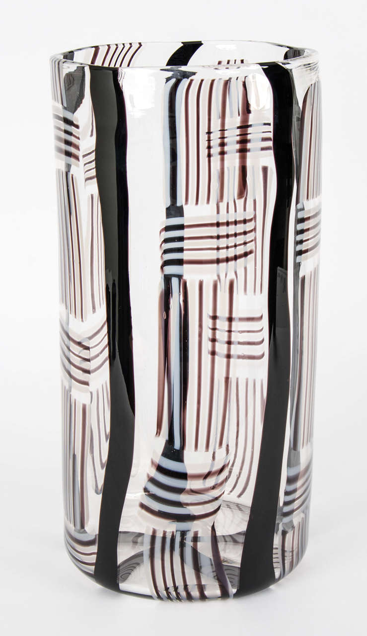 Large-scale blown glass vessel.  'In this series of objects I have used the Classic techniques of canes and murrinis but worked with a more organic approach to create the loose patterns in the glass that I am after. I start my design with water