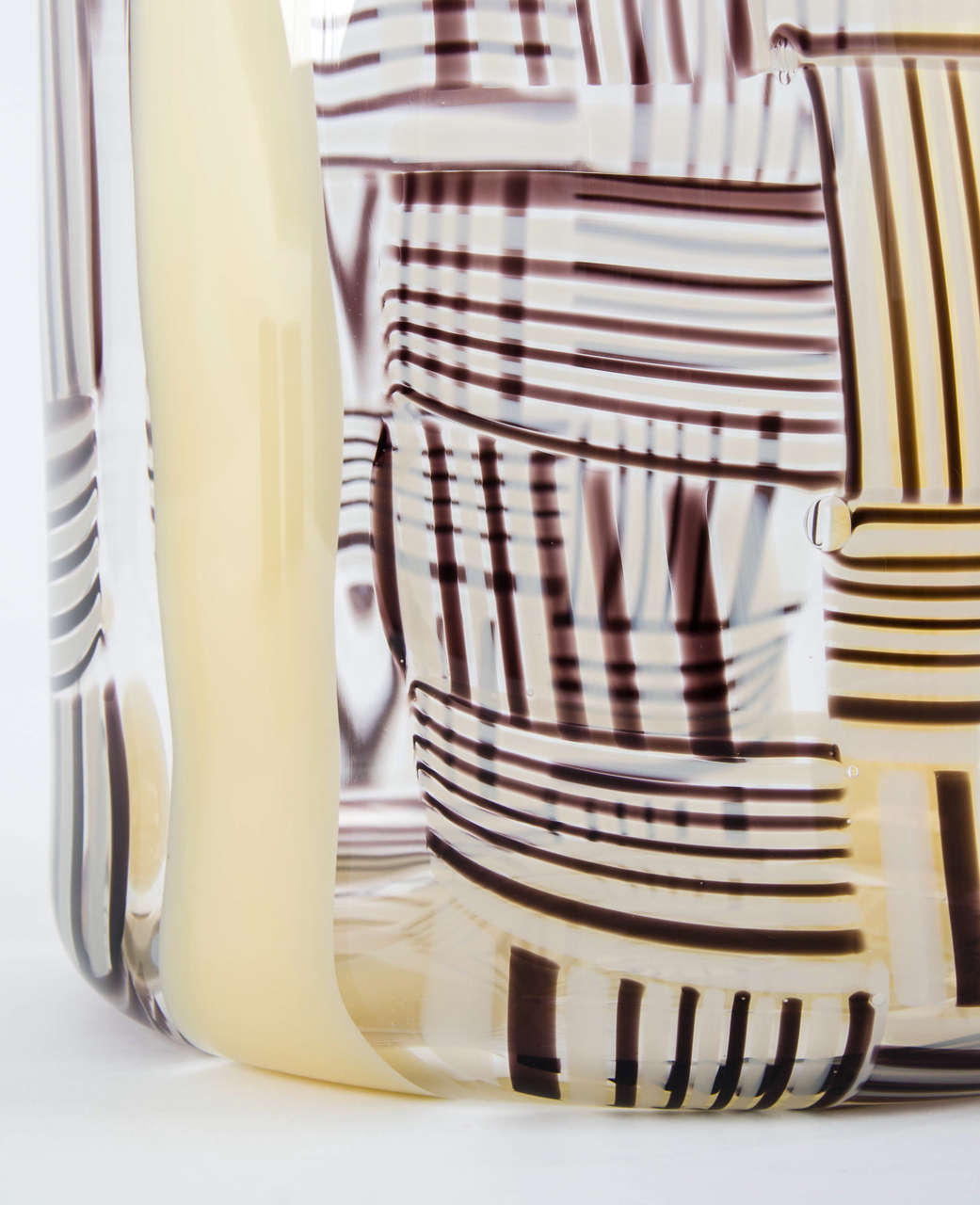 Hand-Crafted Madras XXII, a clear, ivory & aubergine Glass blown Sculpture by Ann Wåhlström For Sale