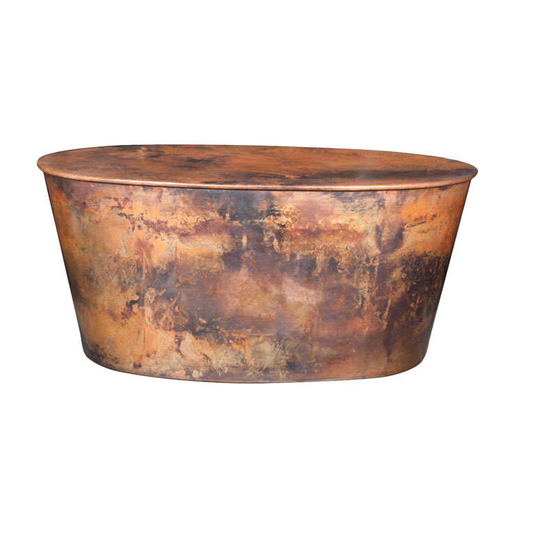 Oval copper drum at 1stdibs for Oval copper coffee table