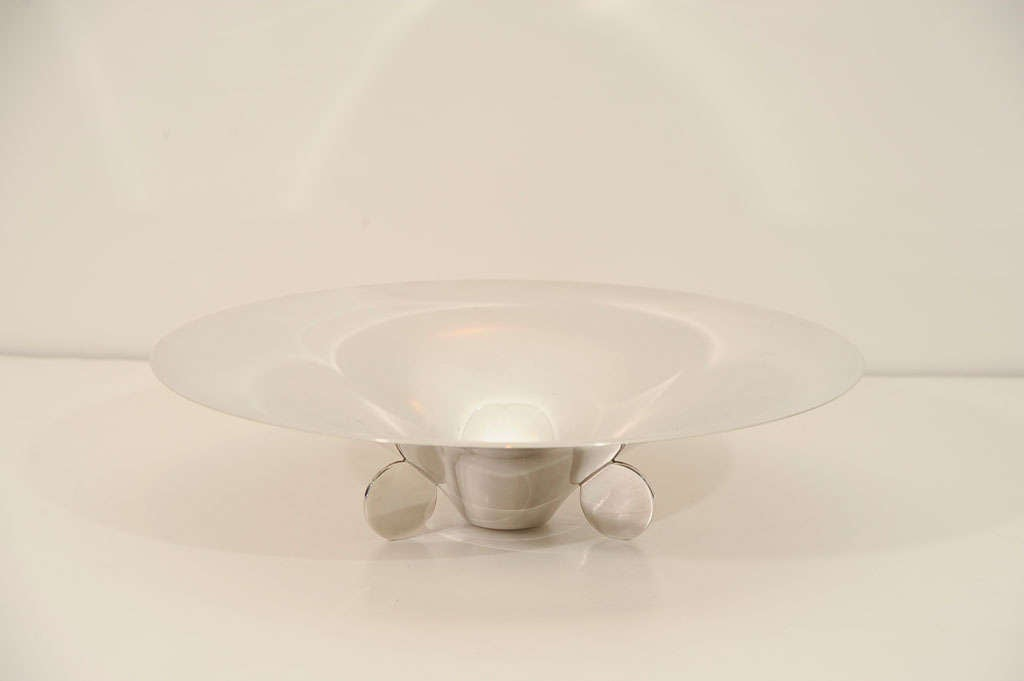 Art deco stylized footed centerpiece bowl in silver plate at 1stdibs - Footed bowl centerpiece ...