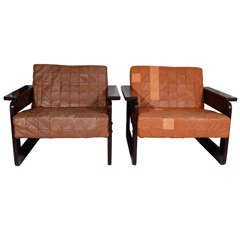 Brazilian Rosewood and Leather Armchairs by Percival Lafer