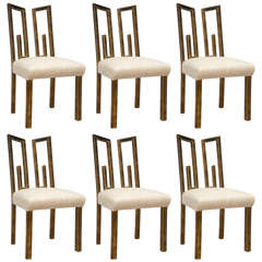 Six James Mont Dining Chairs with Greek Key Detail