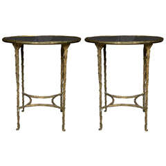 Pair of Faux Bois Mirrored Top Bronze End Tables by Jansen