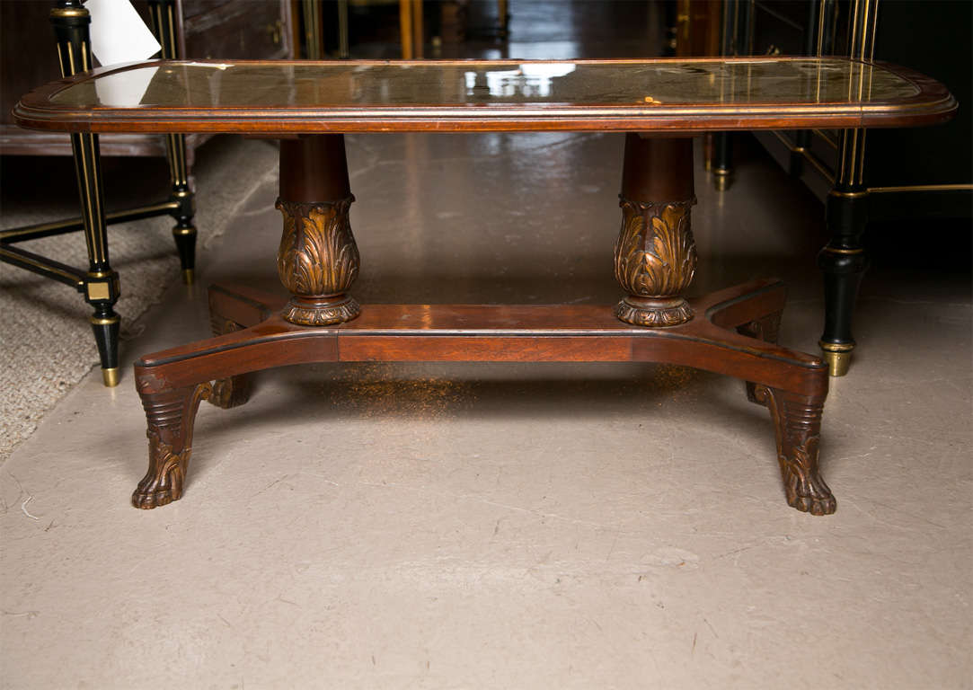Gilt Glass Top Mahogany Coffee Table Stamped Jansen At 1stdibs
