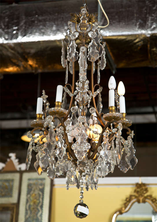 Late 19th century crystal and bronze chandelier for sale at 1stdibs late 19th or very early 20th century barley twist glass column center form bronze and hanging aloadofball Choice Image