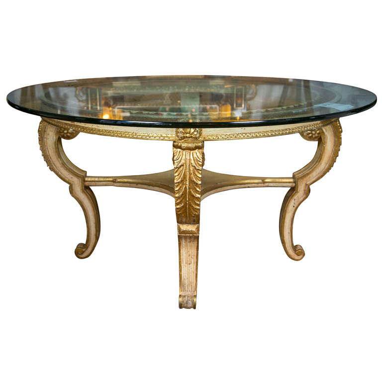 Glass top giltwood base center table at 1stdibs for Cuir center table basse