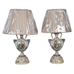 Pair of Porcelain Meissen Style Urn Form Lamps