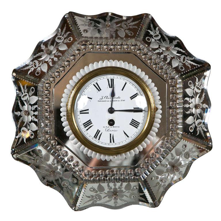 Venetian Glass Mirrored Clock At 1stdibs