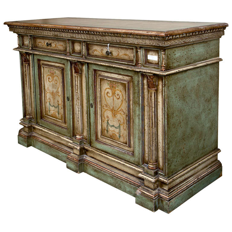 Italian painted credenza cabinet at 1stdibs for Italian painted furniture