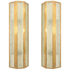 Pair of Large Brass Sconces with Glass Inserts by Barovier