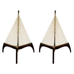 "Pair of wood and rope ""harp"" chairs by Jorgen Hovelskov"