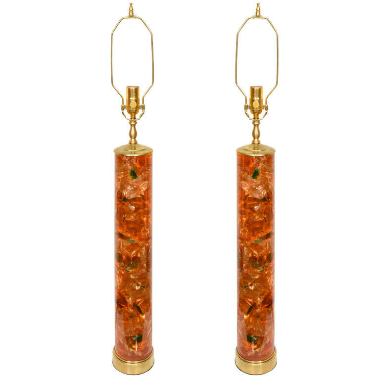 Pair of Fragmented Orange Resin Table Lamps by Pierre Giraudon