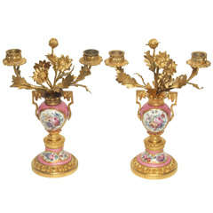 "Pair Antique French "" Rose Pompadour""  Ormolu Candelabra"