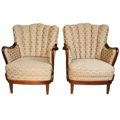 Pair of 1950s Upholstered Armchairs