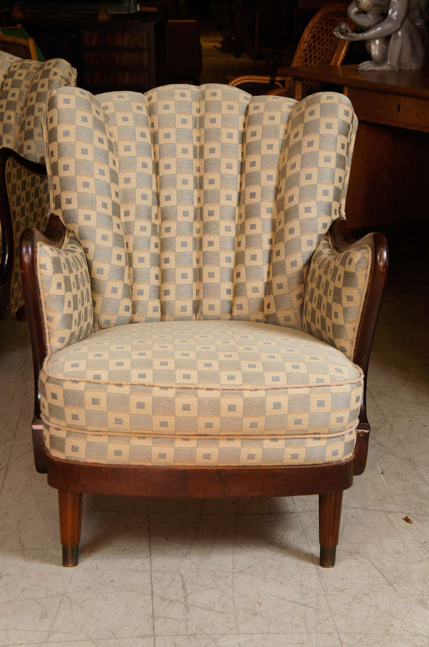 Pair of 1950s Upholstered Armchairs For Sale at 1stdibs