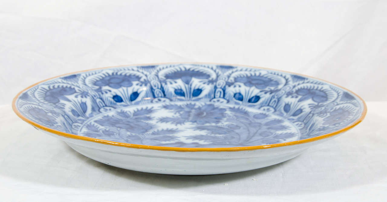 An Antique Blue And White Dutch Delft Charger At 1stdibs