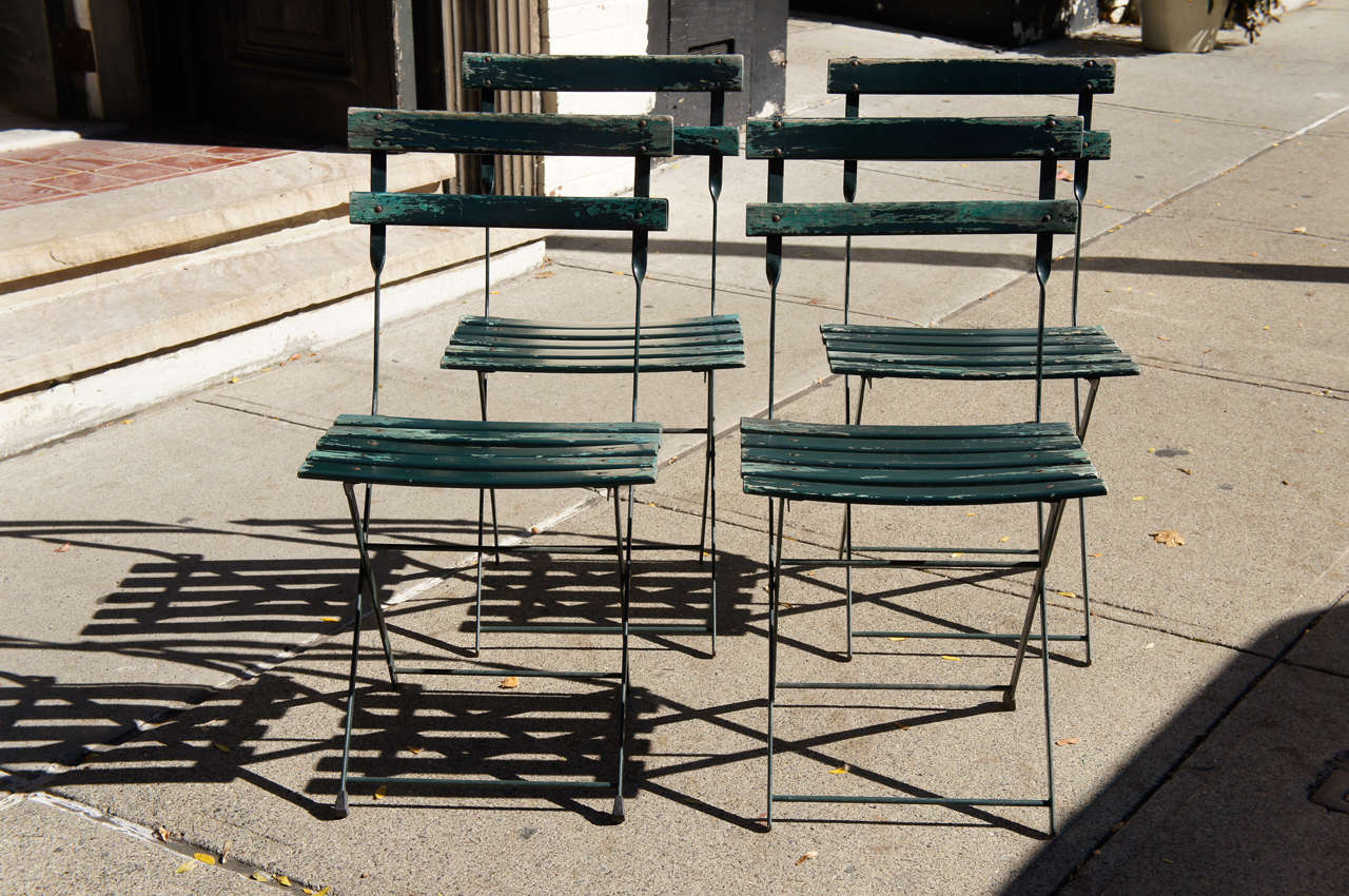 French bistro chairs metal - A Set Of Four Vintage French Bistro Folding Chairs 2