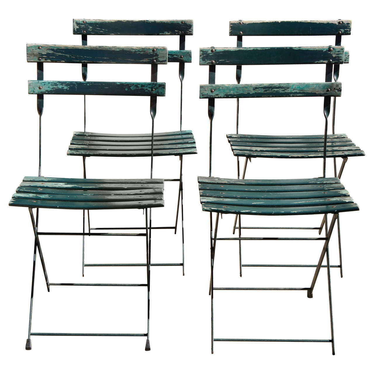 A Set Of Four Vintage French Bistro Folding Chairs For Sale