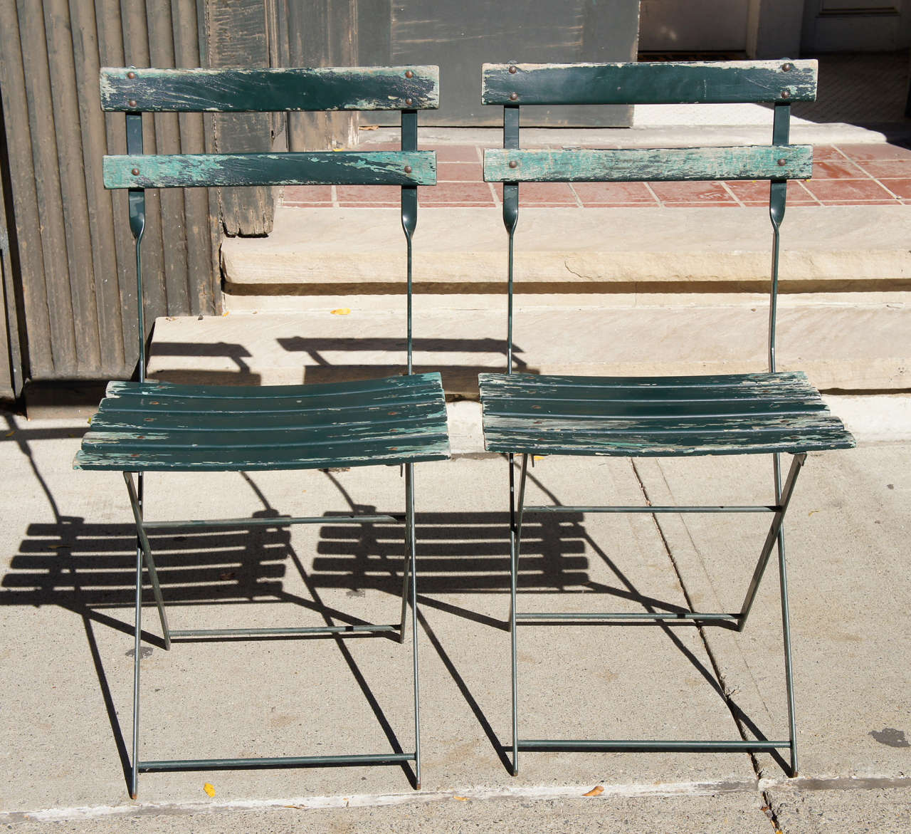 Other A Set Of Four Vintage French Bistro Folding Chairs For Sale
