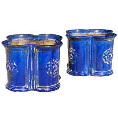 A Large Pair of  Vintage French Faience Planters