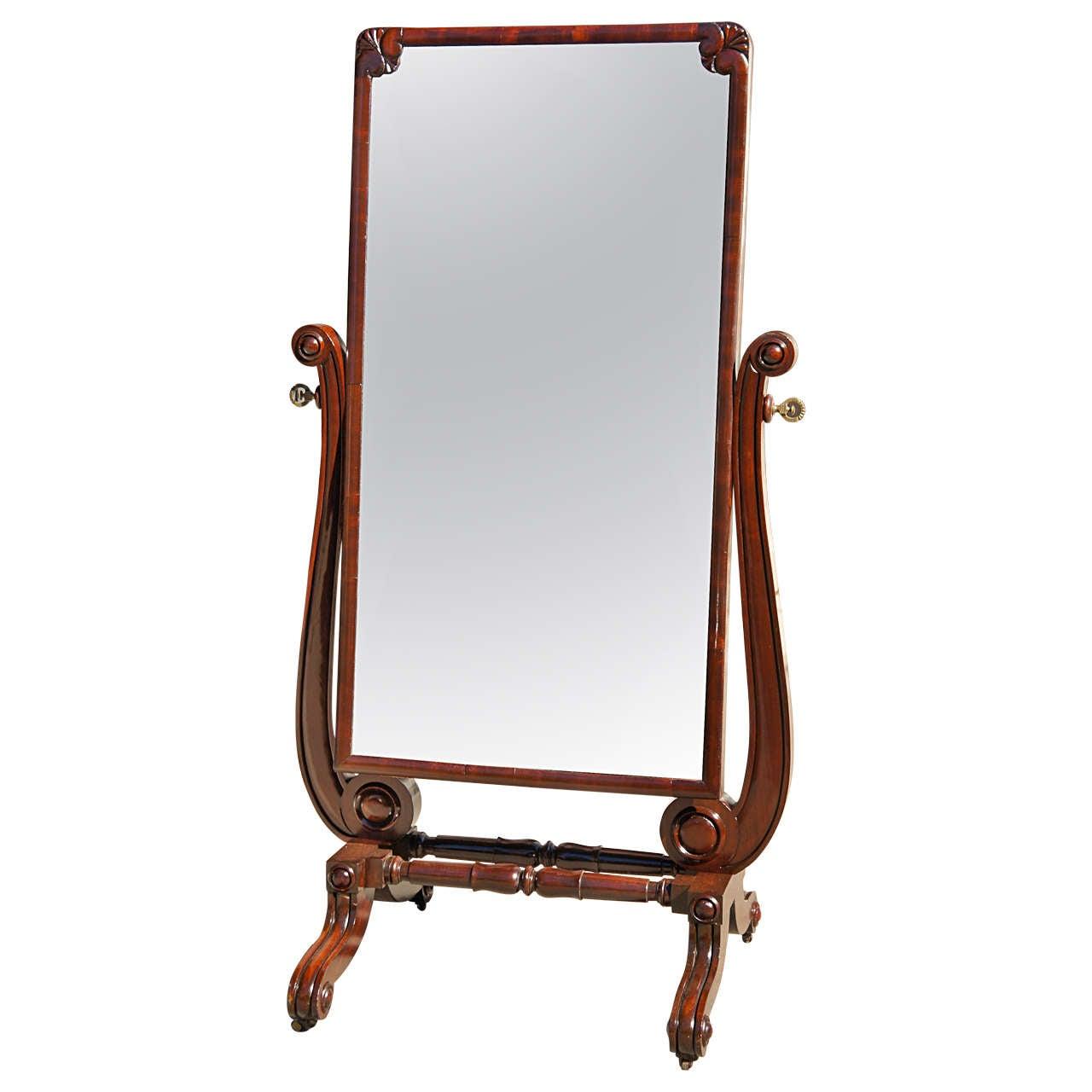 Late Regency Mahogany Cheval Mirror