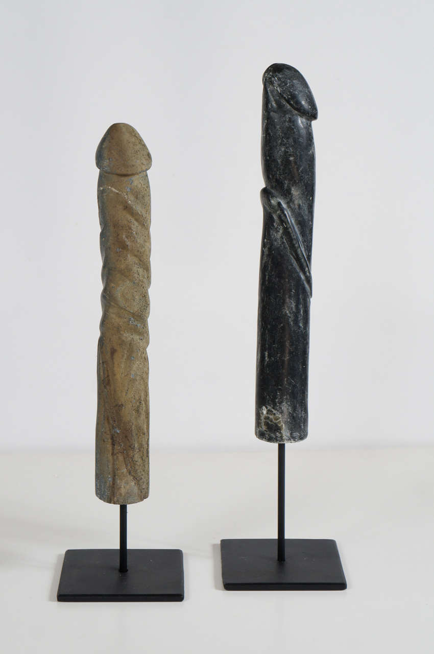 A Set Of Carved Stone Penis Sculptures On Iron Stands At 1Stdibs-1168
