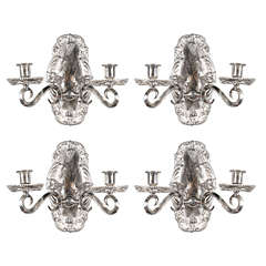 Set of 12 Silver Plated Caldwell Sconces