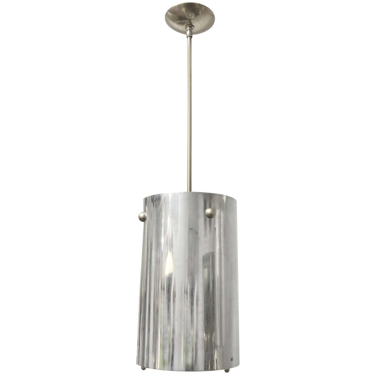 Cylindrical Chrome Pendant Ceiling Fixture with Opague Glass Shade