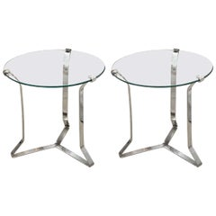 """Pair of Glass and Nickel """"X"""" Base Tables with Clip Detail"""