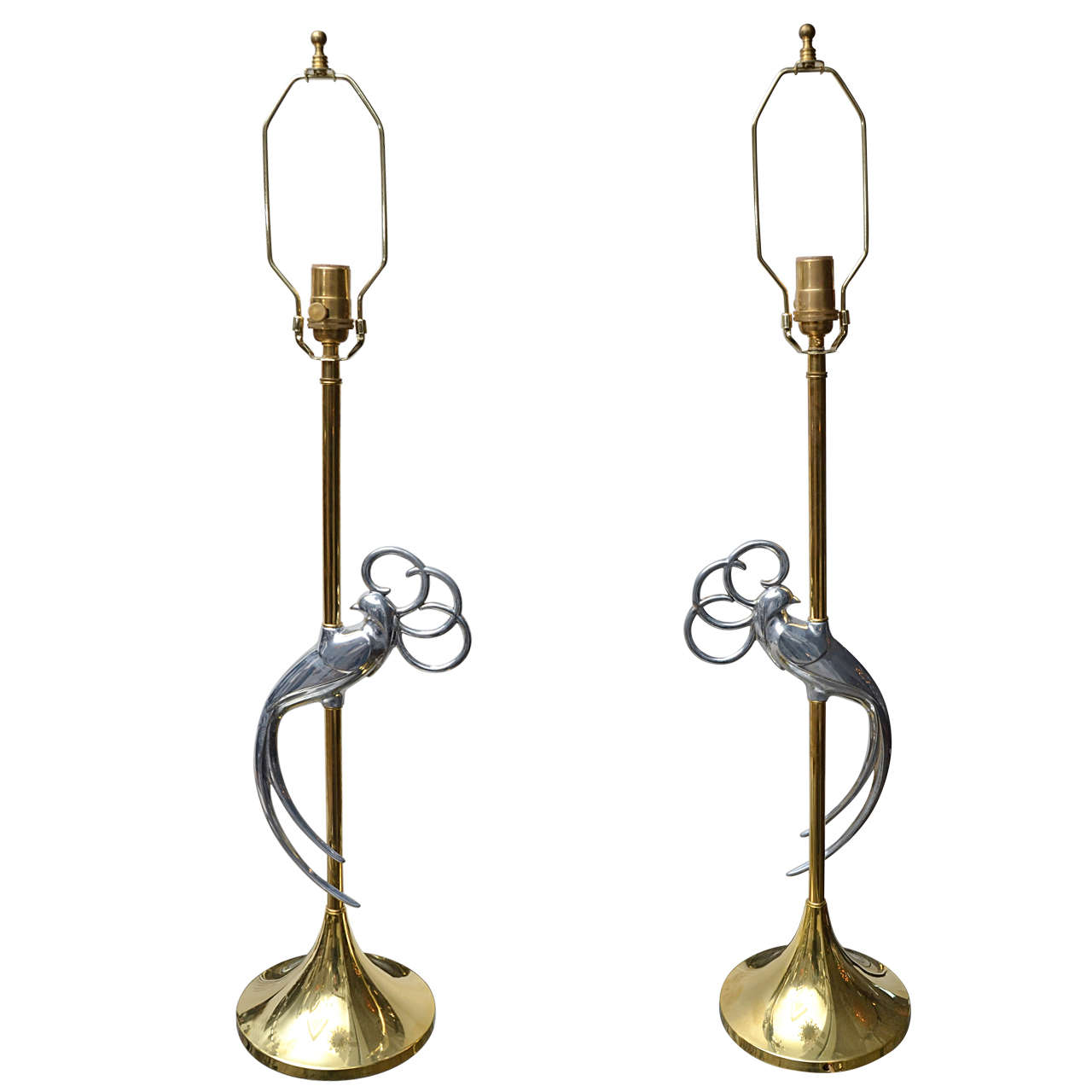 Pair of Brass Table Lamps with Stylized Chrome Exotic Bird at Centre