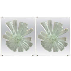 Pair of Sculptural Glass Wall Sconces