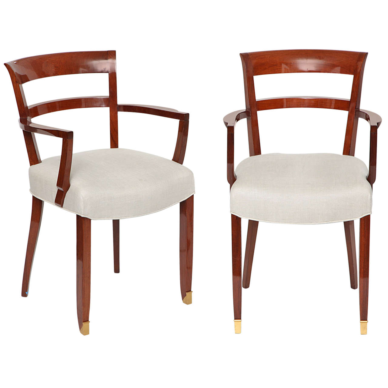 Jules Leleu, Pair of Mahogany Armchairs, France, C. 1930