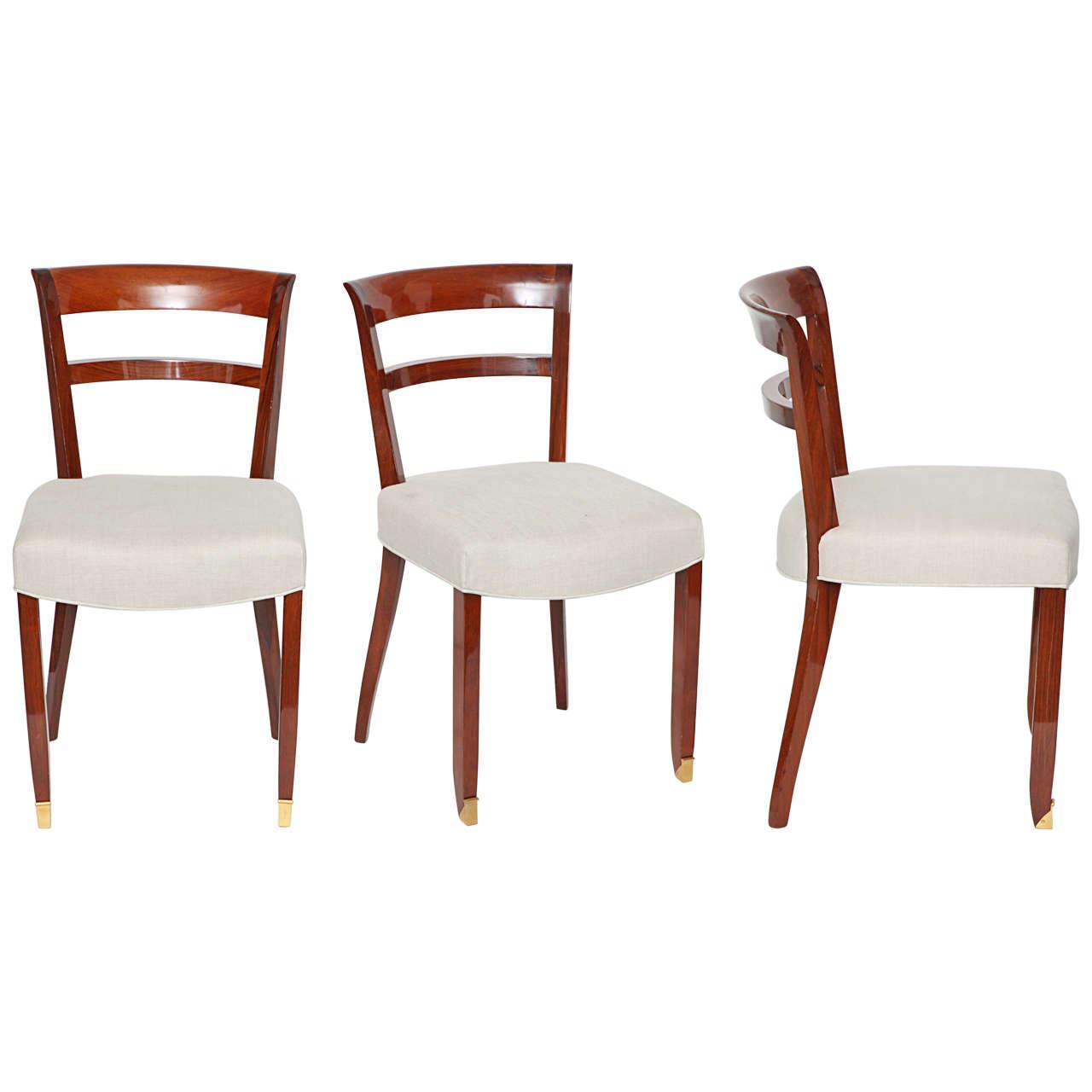Jules Leleu, Set of Three Mahogany Side Chairs, France, C. 1930