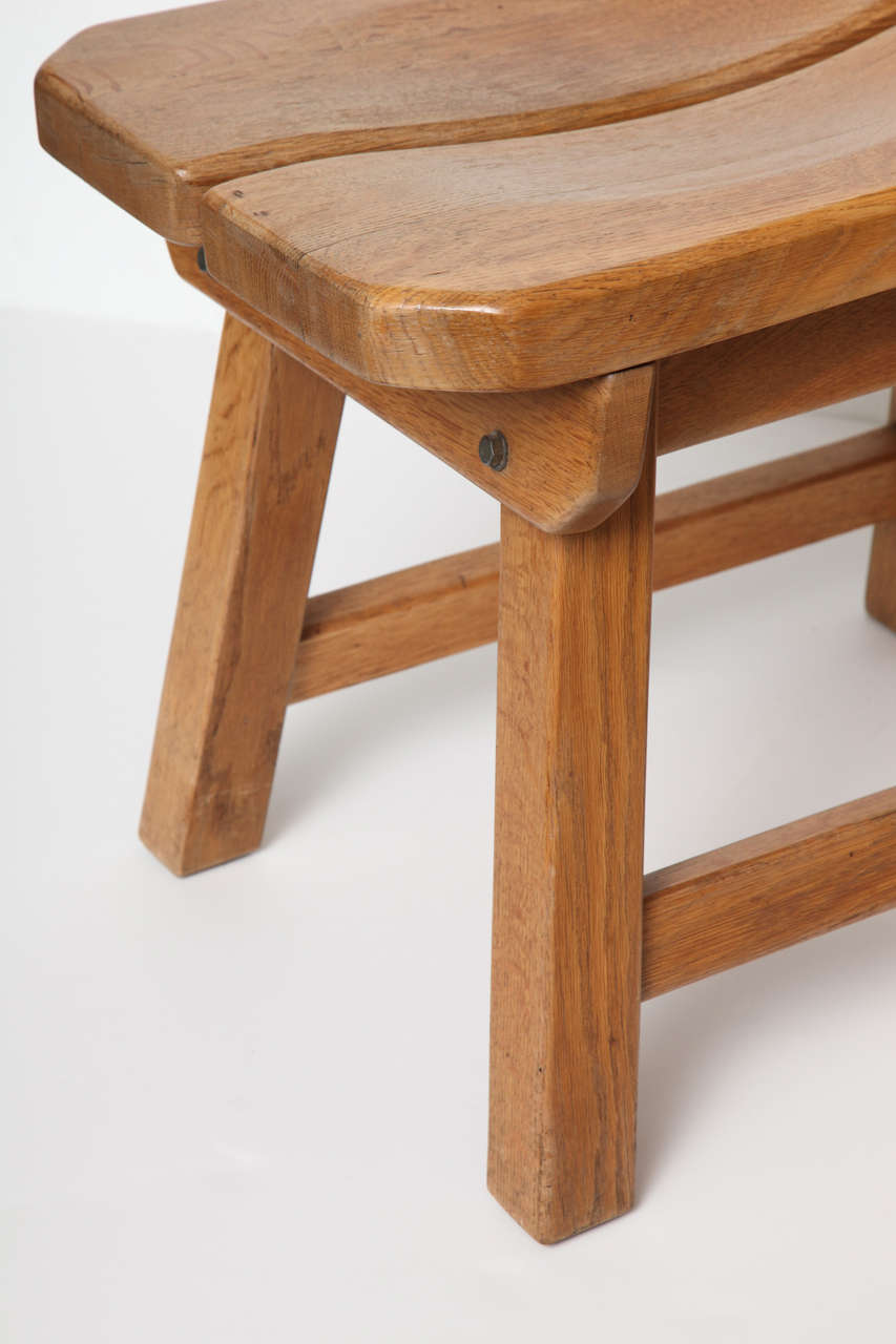 Oak Set of Four Mid-century Side Chairs, France, C. 1960 For Sale